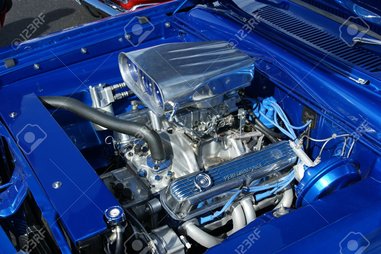 A Modified High Performance Motor In A Custom Street Car. Stock ...