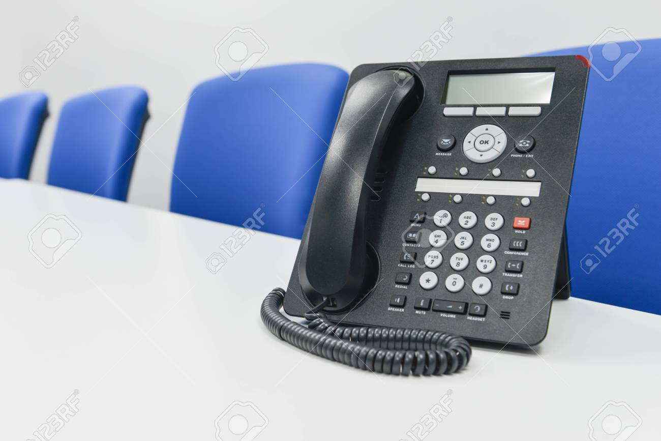 Black Ip Phone In The Meeting Room Stock Photo Picture And Royalty