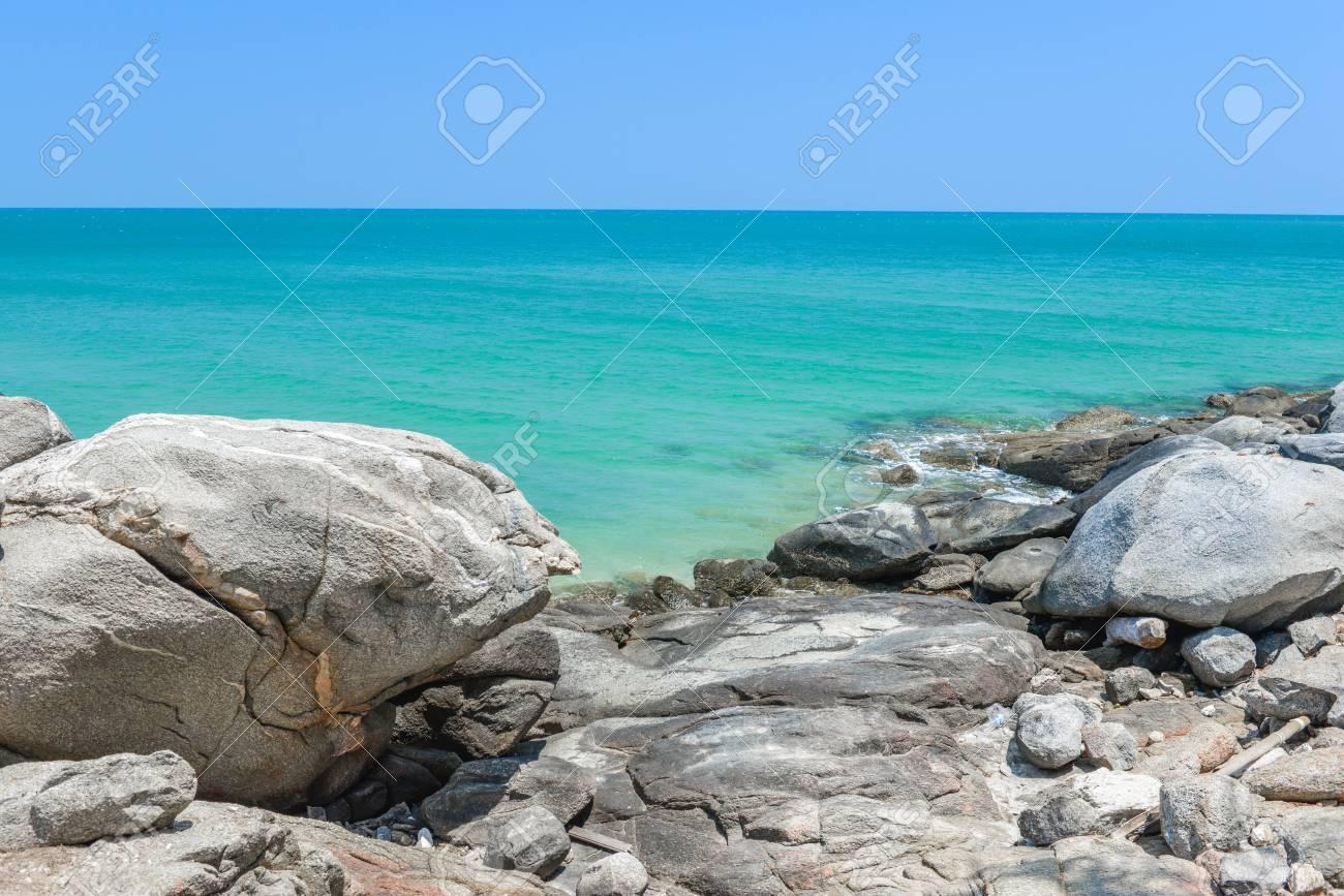 Rocks On The Seashore With Blue Sea Water Stock Photo Picture And Royalty Free Image Image 80650783 Rocks stones horizon coast sand sea