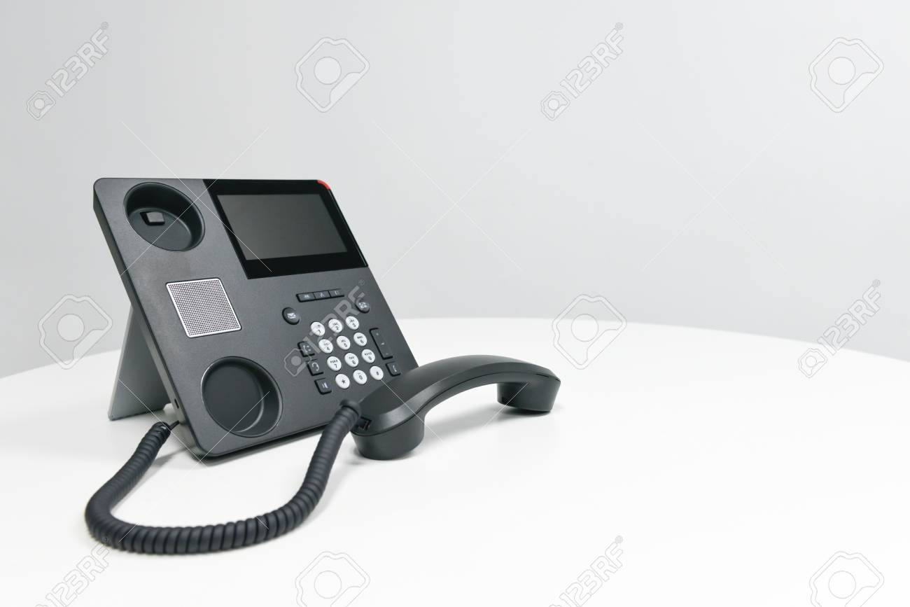 Black Ip Phone Office Phone On The White Table In The Meeting