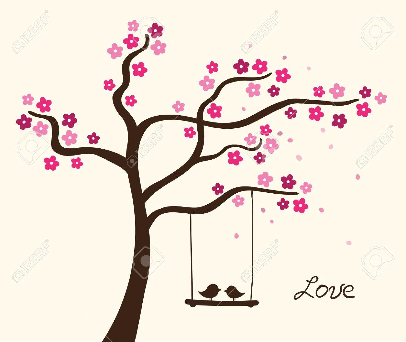 Flower love tree. Vector illustration - 14760899