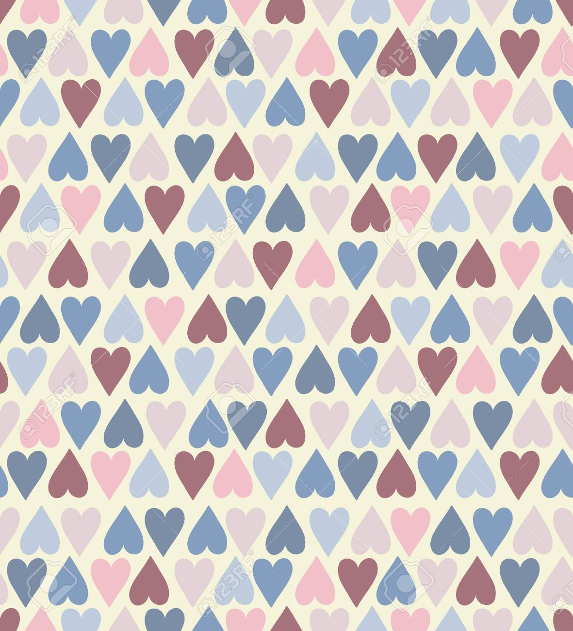 Seamless stylish color hearts pattern. Stock Vector - 15135005