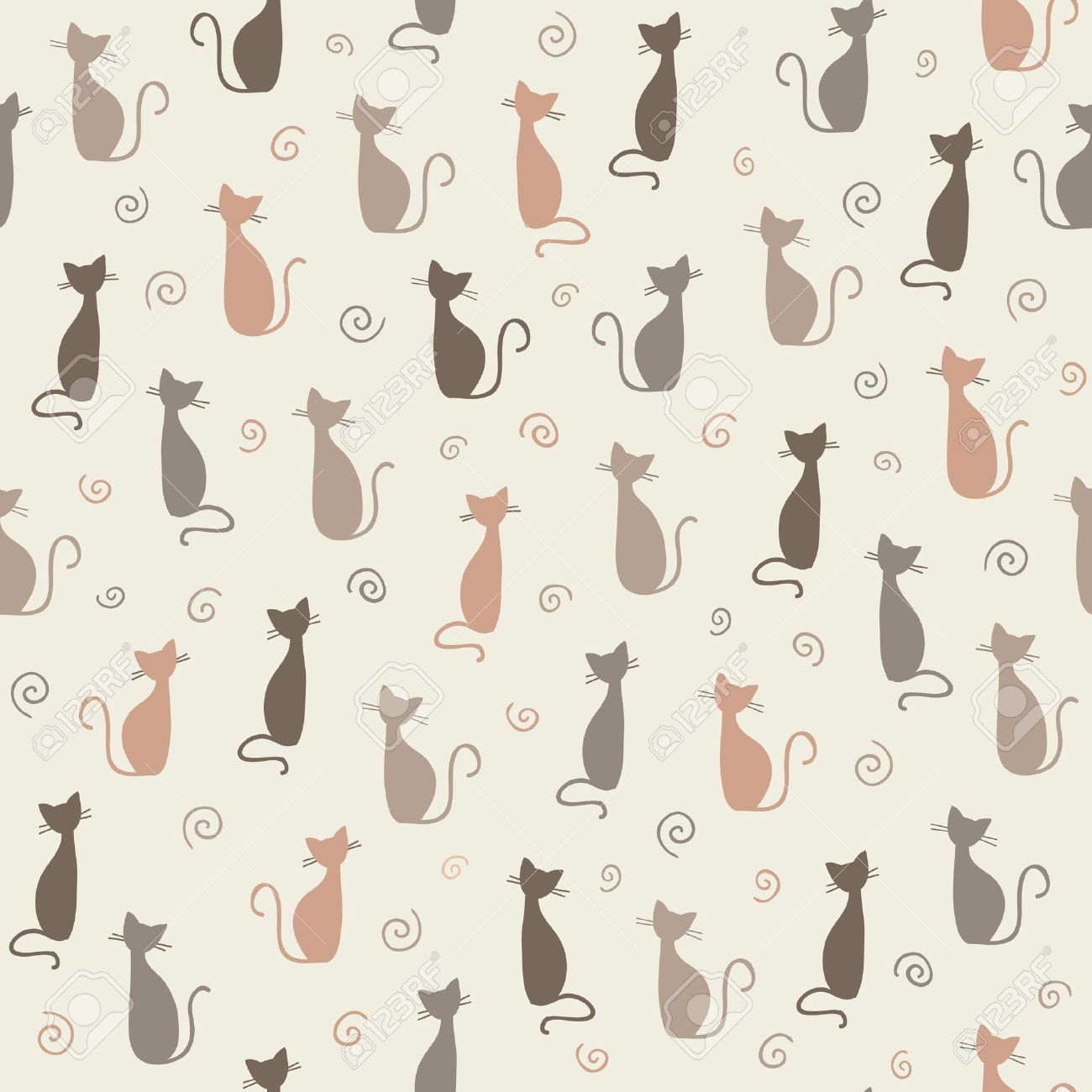 Seamless stylish color cats pattern illustration Stock Vector - 15135124