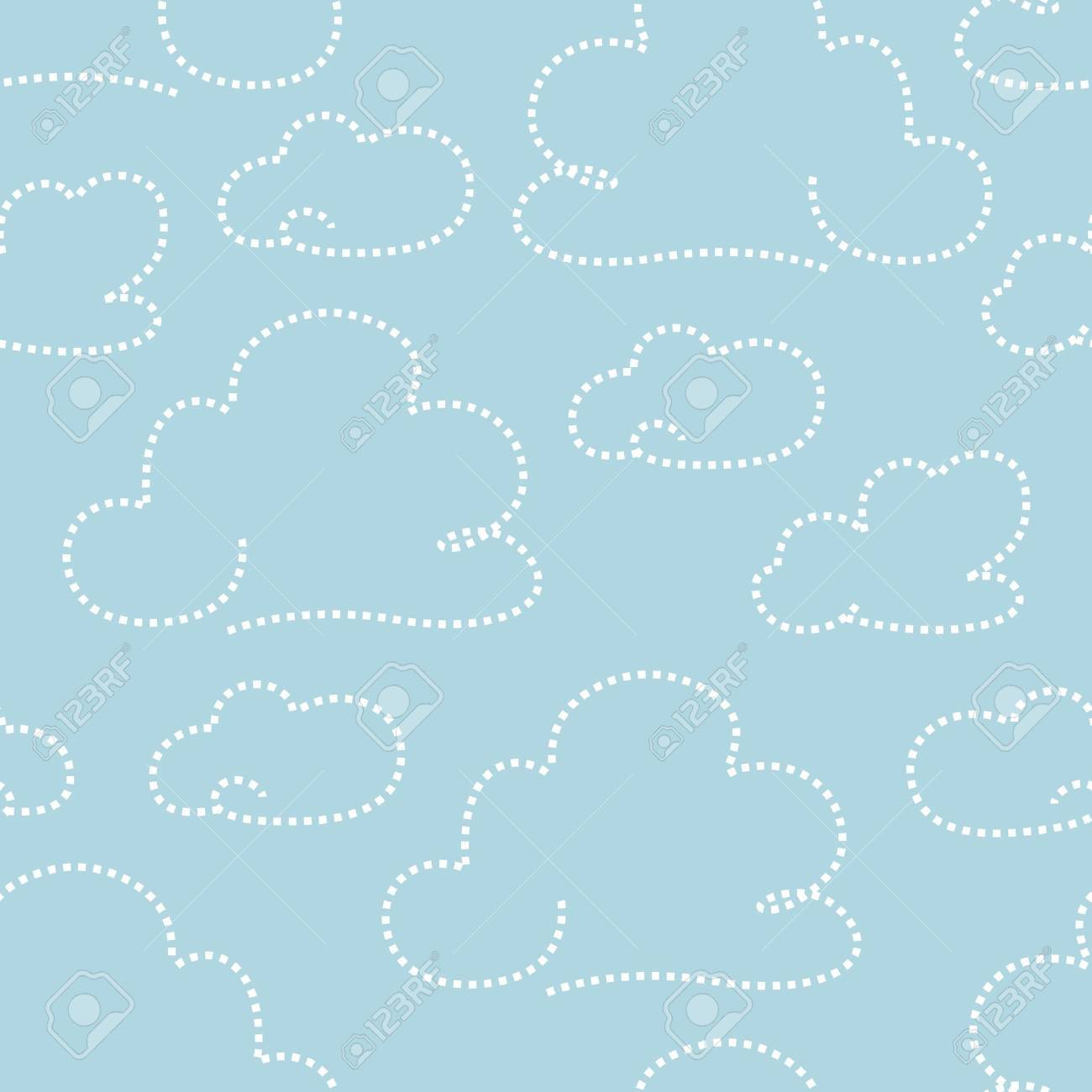 Seamless light blue cloudy pattern  illustration Stock Vector - 15135048