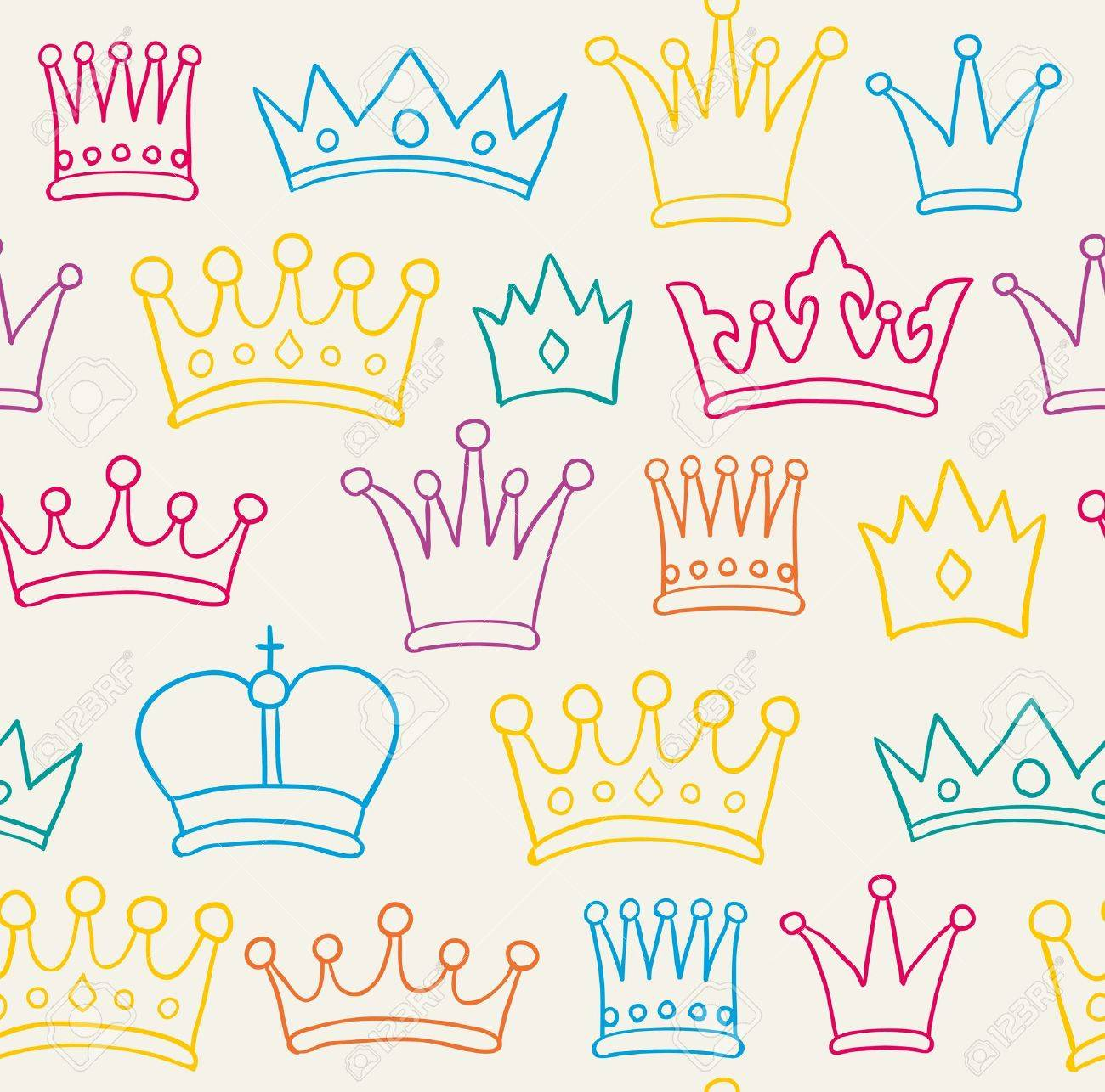 Seamless Hand Drawn Color Crown Pattern Stock Photo  15135136