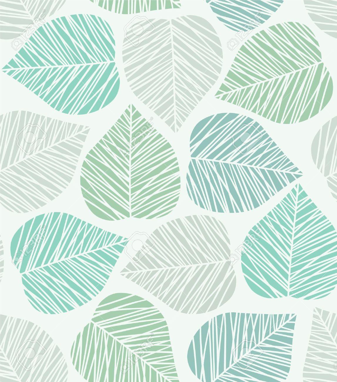 Seamless blue stylized leaf pattern - 15659714