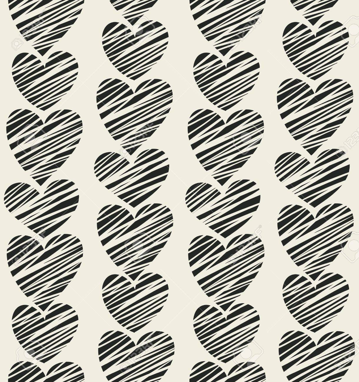 Seamless black striped hearts pattern  Vector illustration Stock Vector - 15703729