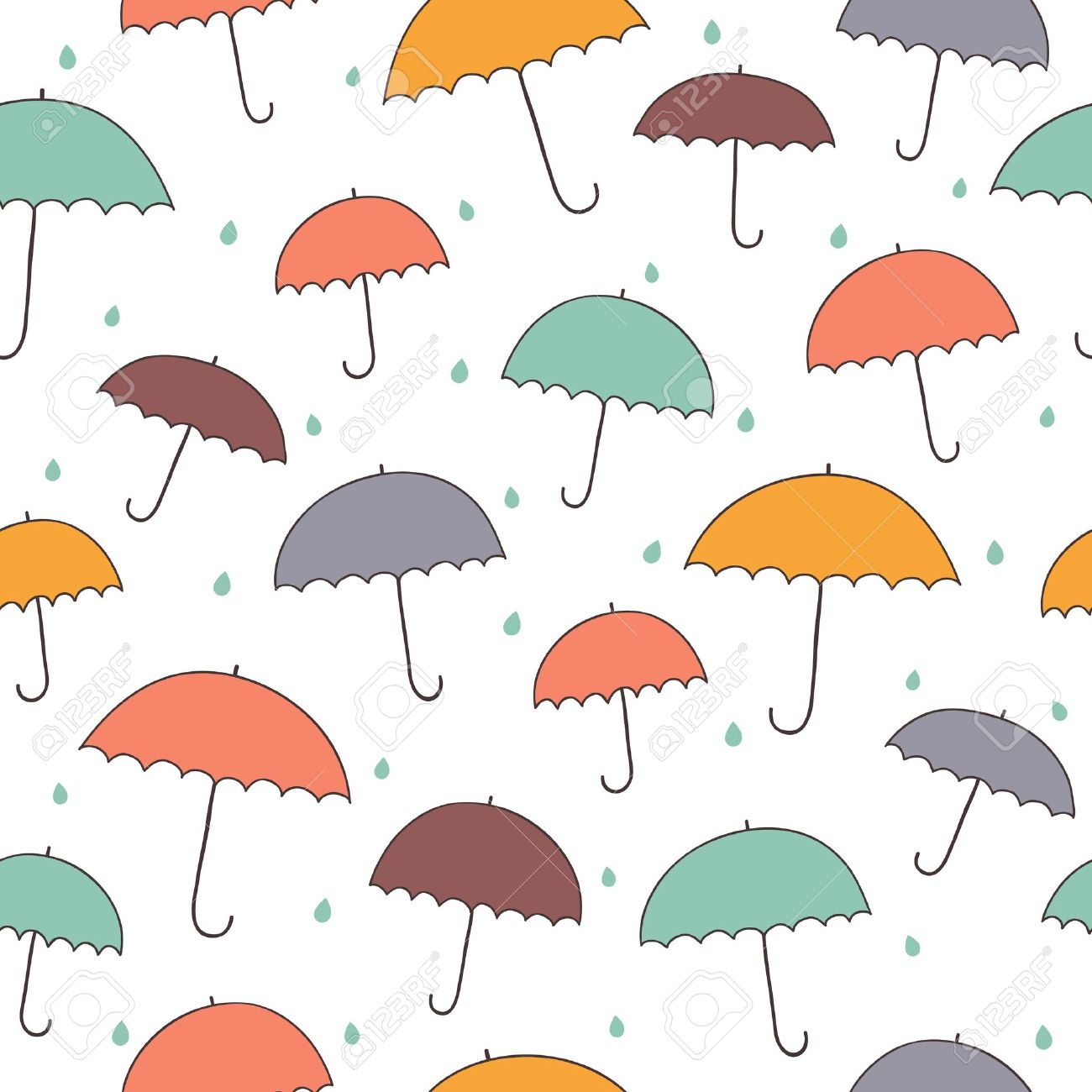Seamless Rainy Pattern With Color Umbrellas Stock Vector