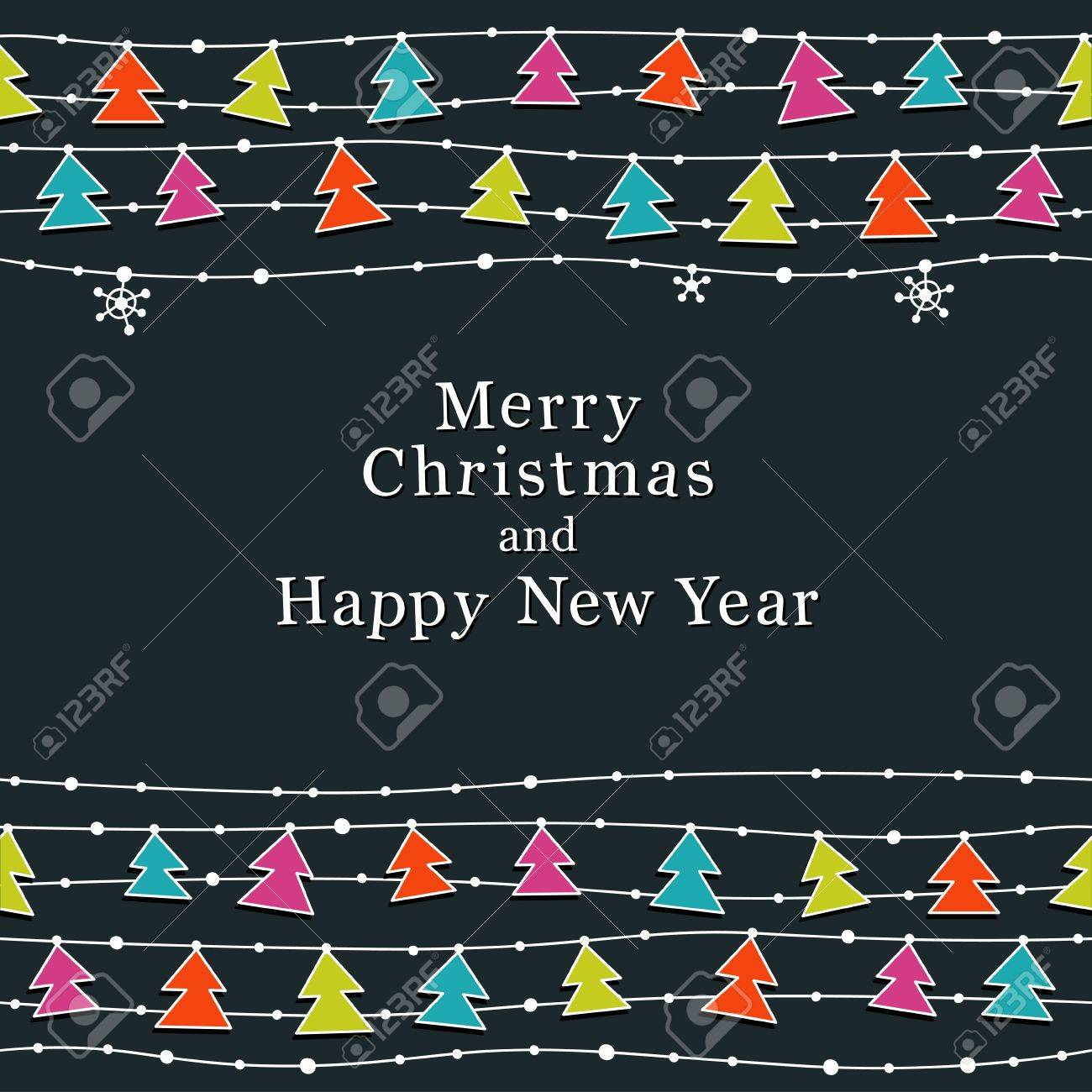 Cute Christmas and New Year card. Seamless borders. Stock Vector - 15802264