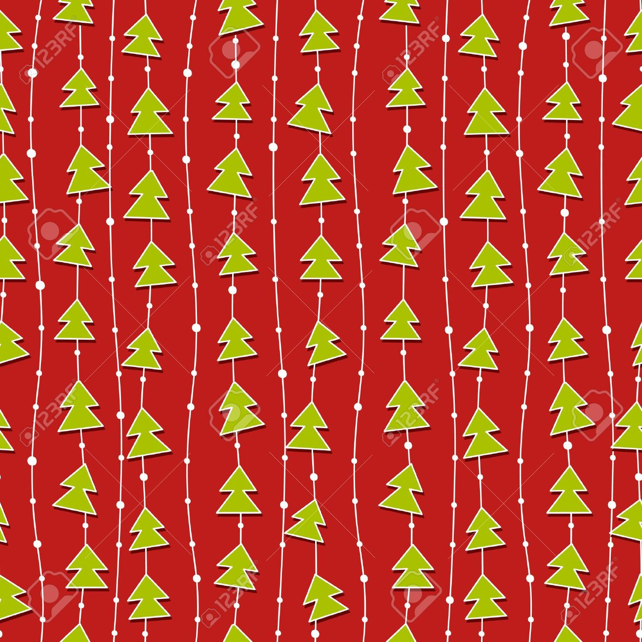 Red Christmas Pattern With Green Christmas Trees. Royalty Free ...