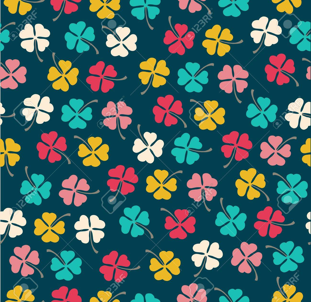 Seamless stylish color clover pattern  Vector illustration Stock Vector - 16154677