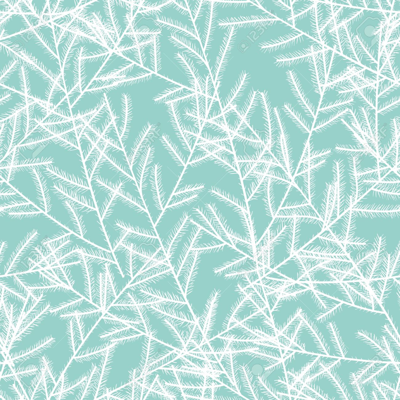 White christmas tree branches on blue background  Seamless pattern   Vector Stock Vector - 16399240
