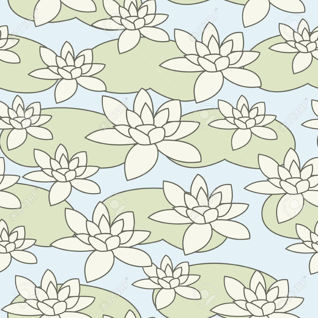 Seamless stylish light water-lily pattern illustration Stock Vector - 16556474