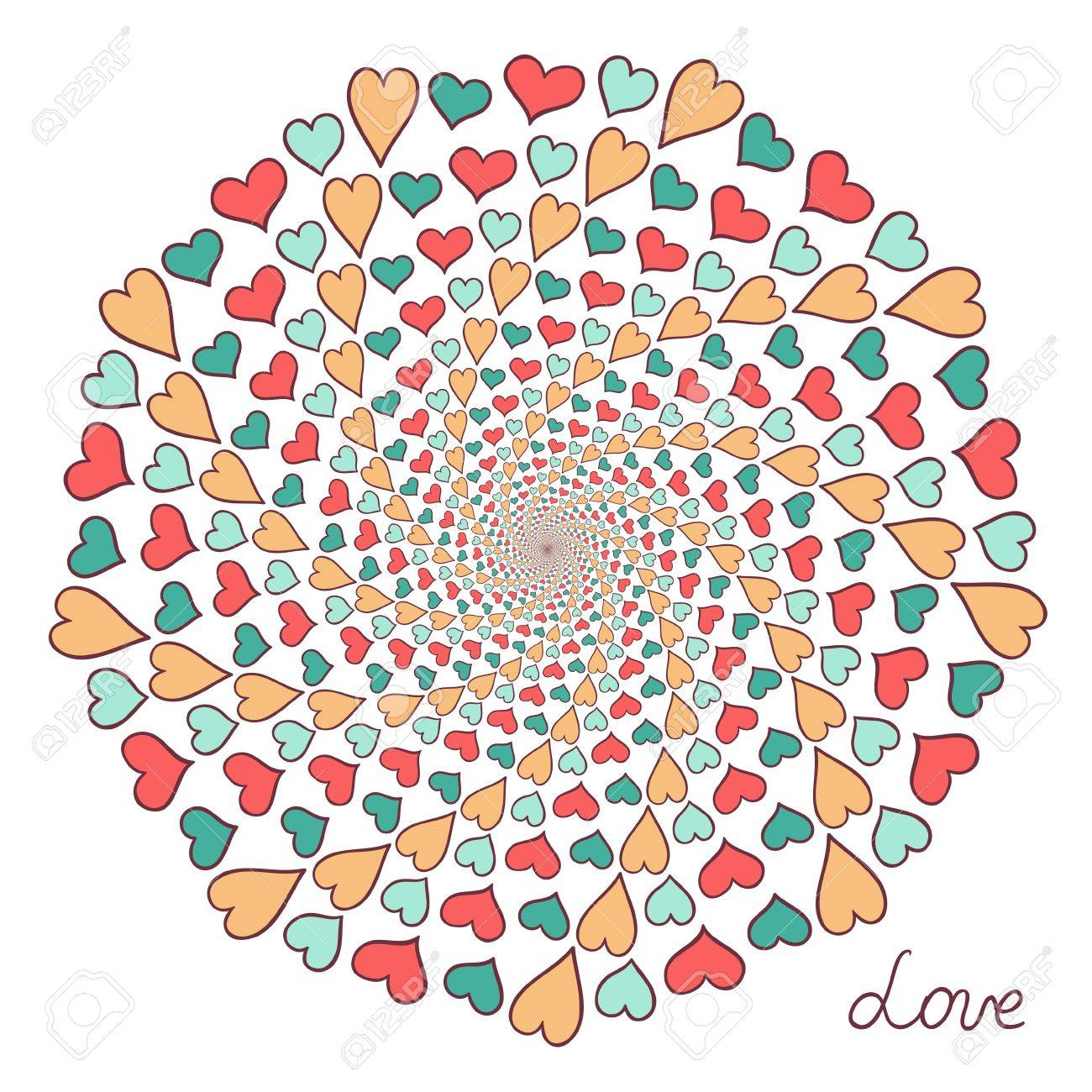 Color hand drawn hearts  Abstract composition Stock Vector - 16710869