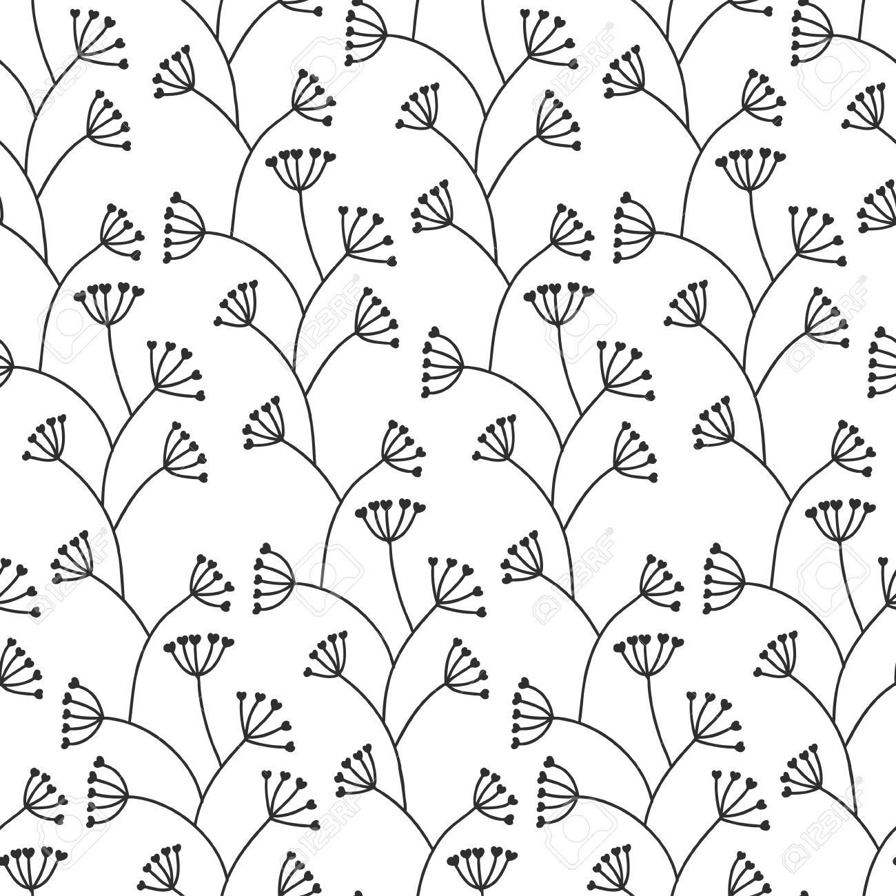 Beautiful Seamless Floral Pattern Black And White Royalty Free