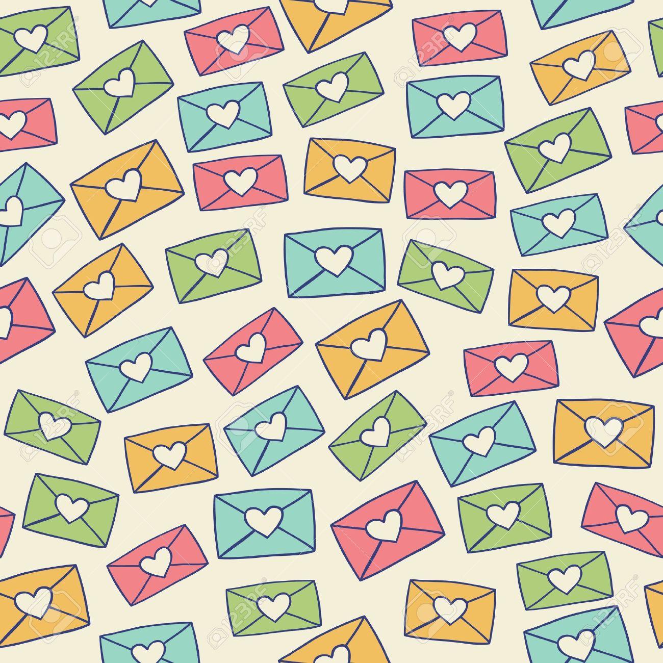 色愛の手紙をベクトル イラストかわいいシームレスなパターン