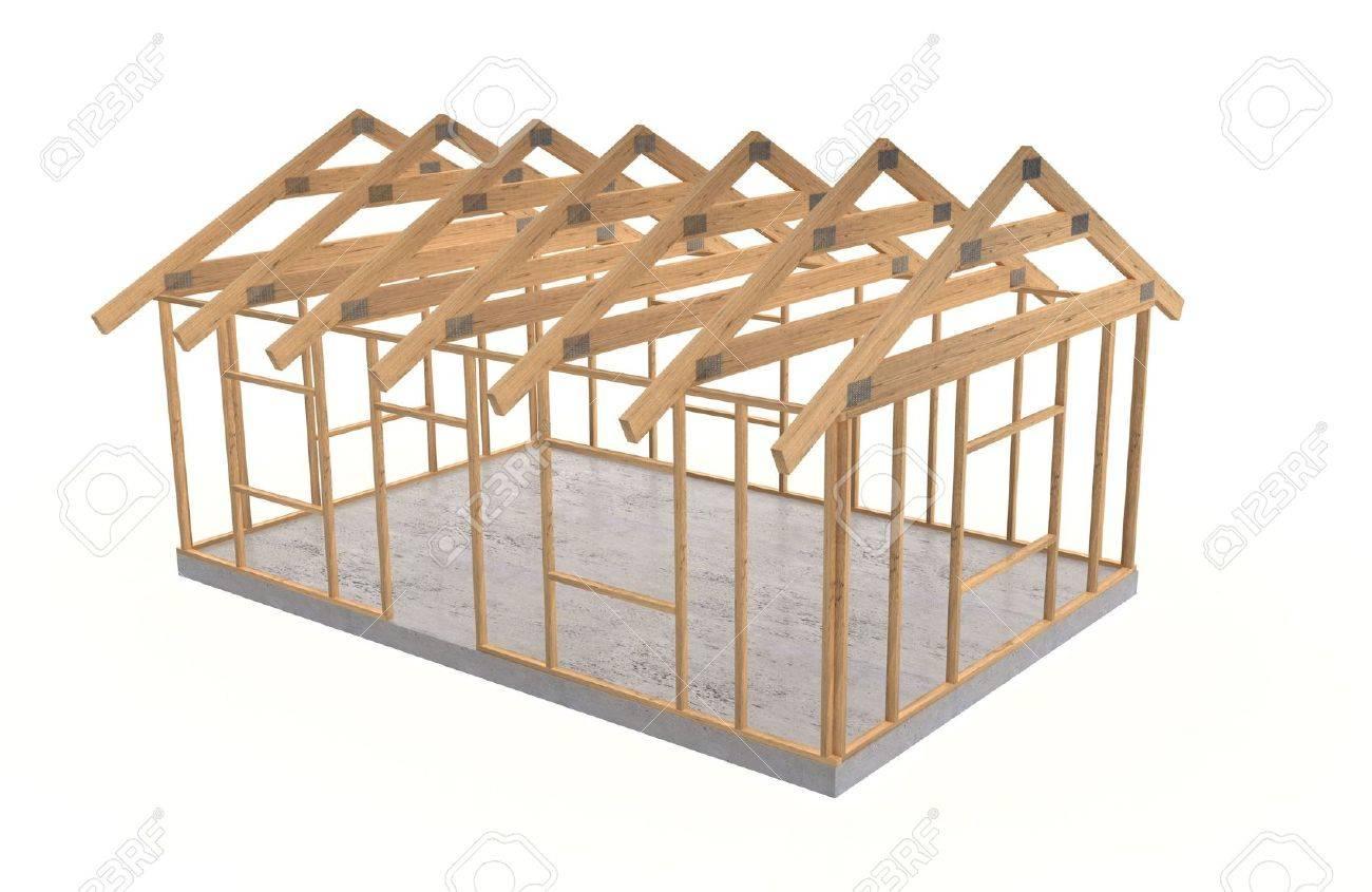 Hölzerne Rahmen Auf Kleinen Grundlegende Haus Lizenzfreie Fotos ...