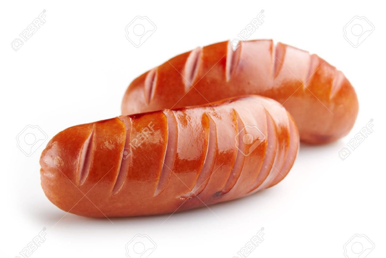 grilled sausages on white background - 16879536
