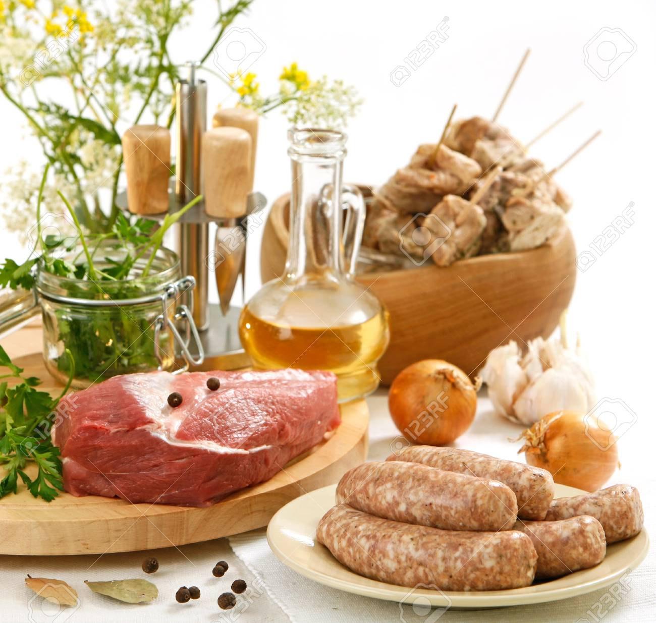 various raw meat and sausages - 18500497