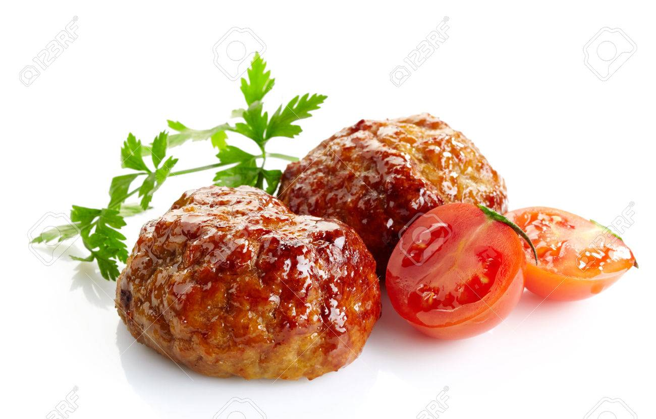 juicy fried meat cutlets on a white background - 24924996
