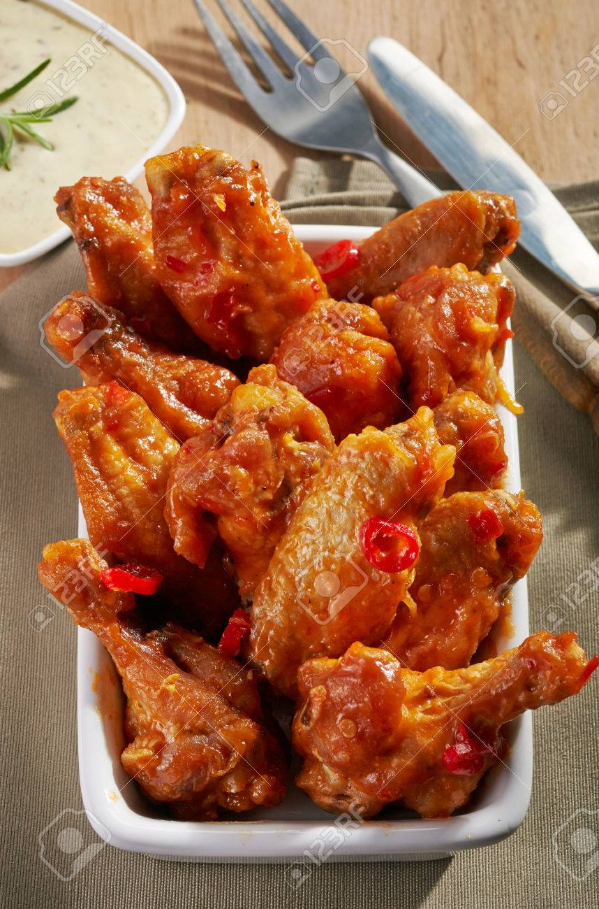 Fried Chicken Wings With Sweet Chili Sauce On White Plate Stock Photo Picture And Royalty Free Image Image 30424348