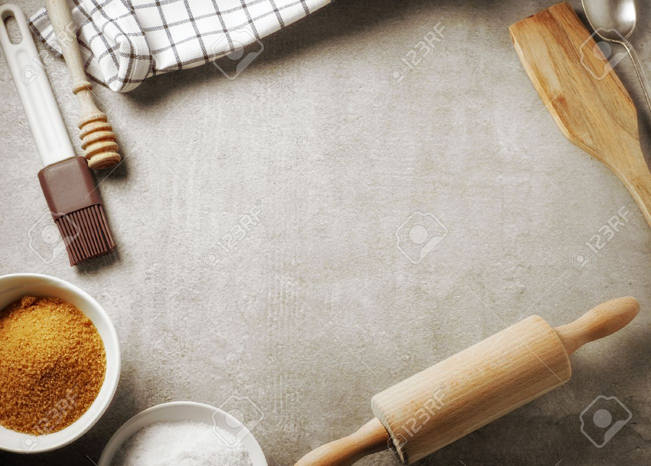 Kitchen Table Background top view of kitchen table and baking utensil, cooking background