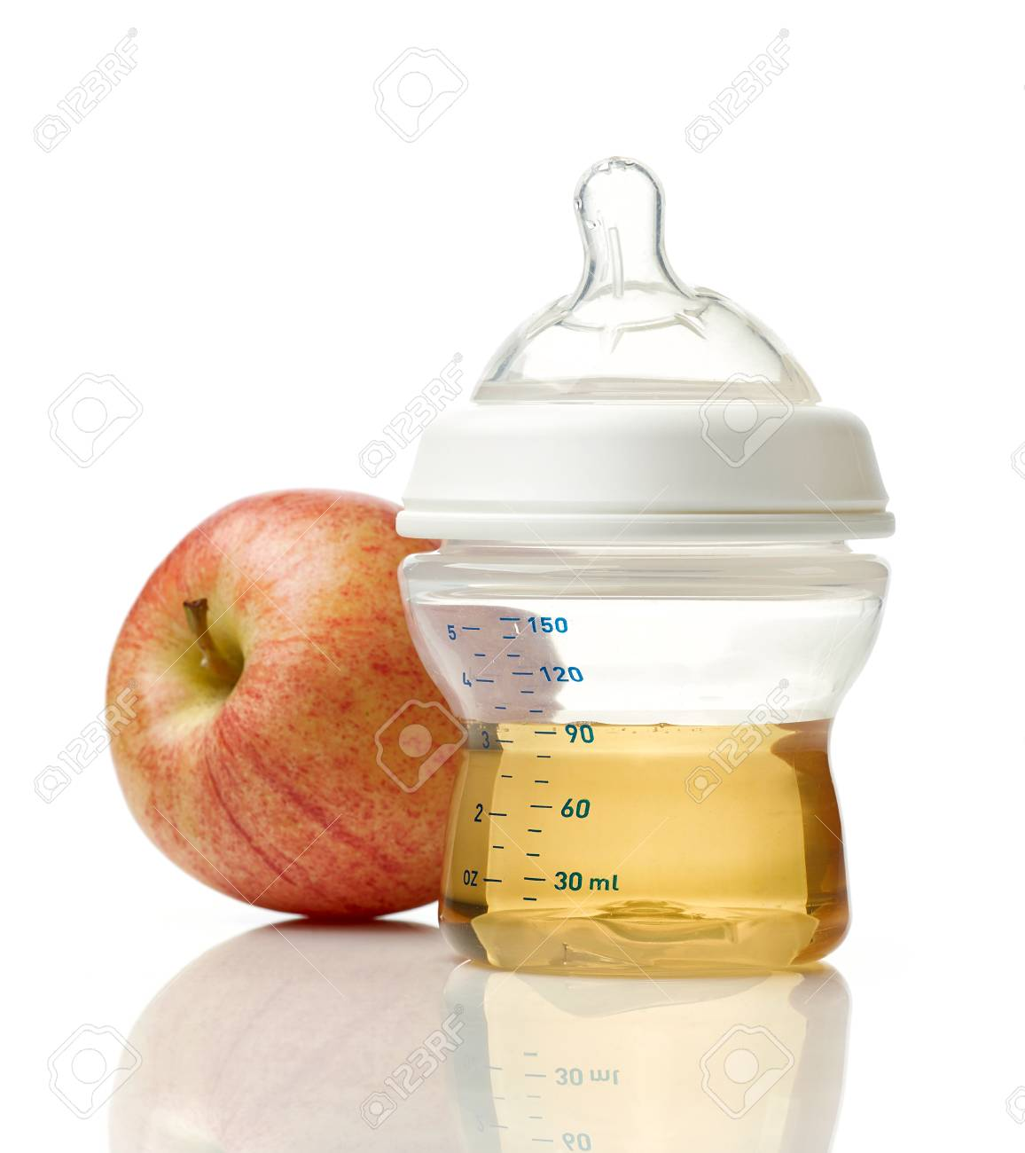Juice In Baby Bottle Isolated White Background Stock
