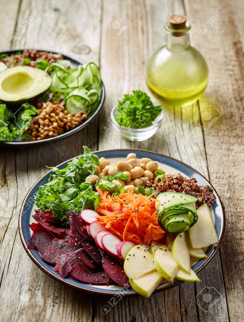 Vegan Breakfast Plates For Healthy Eating On Wooden Table Stock Photo Picture And Royalty Free Image Image 86436328