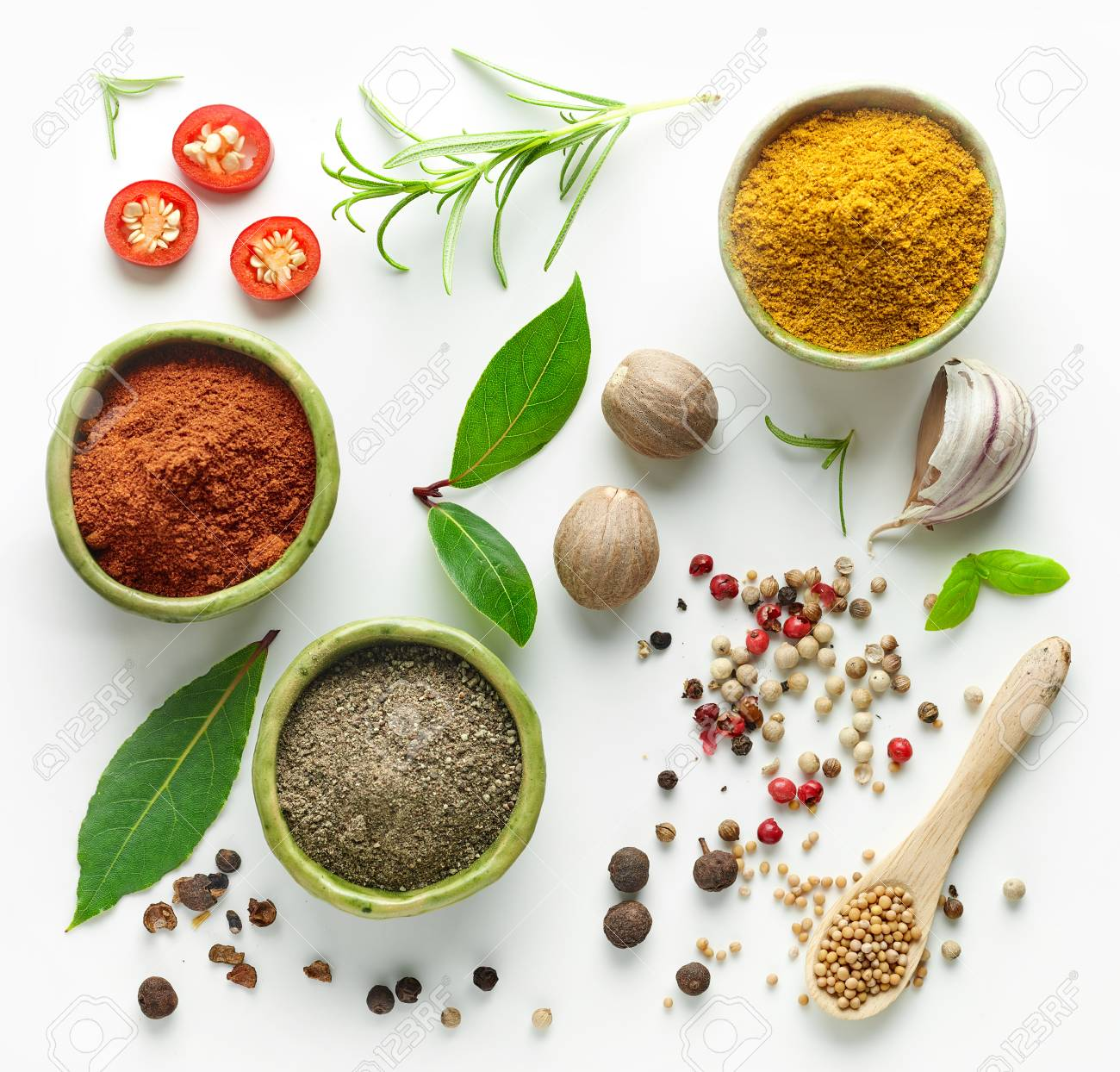 Various herb and spices, top view - 89285138