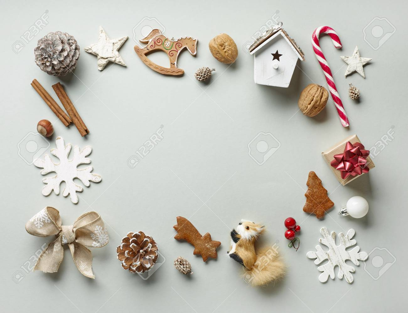 Frame Of Christmas Decorations On Grey Paper Background, Top.. Stock ...