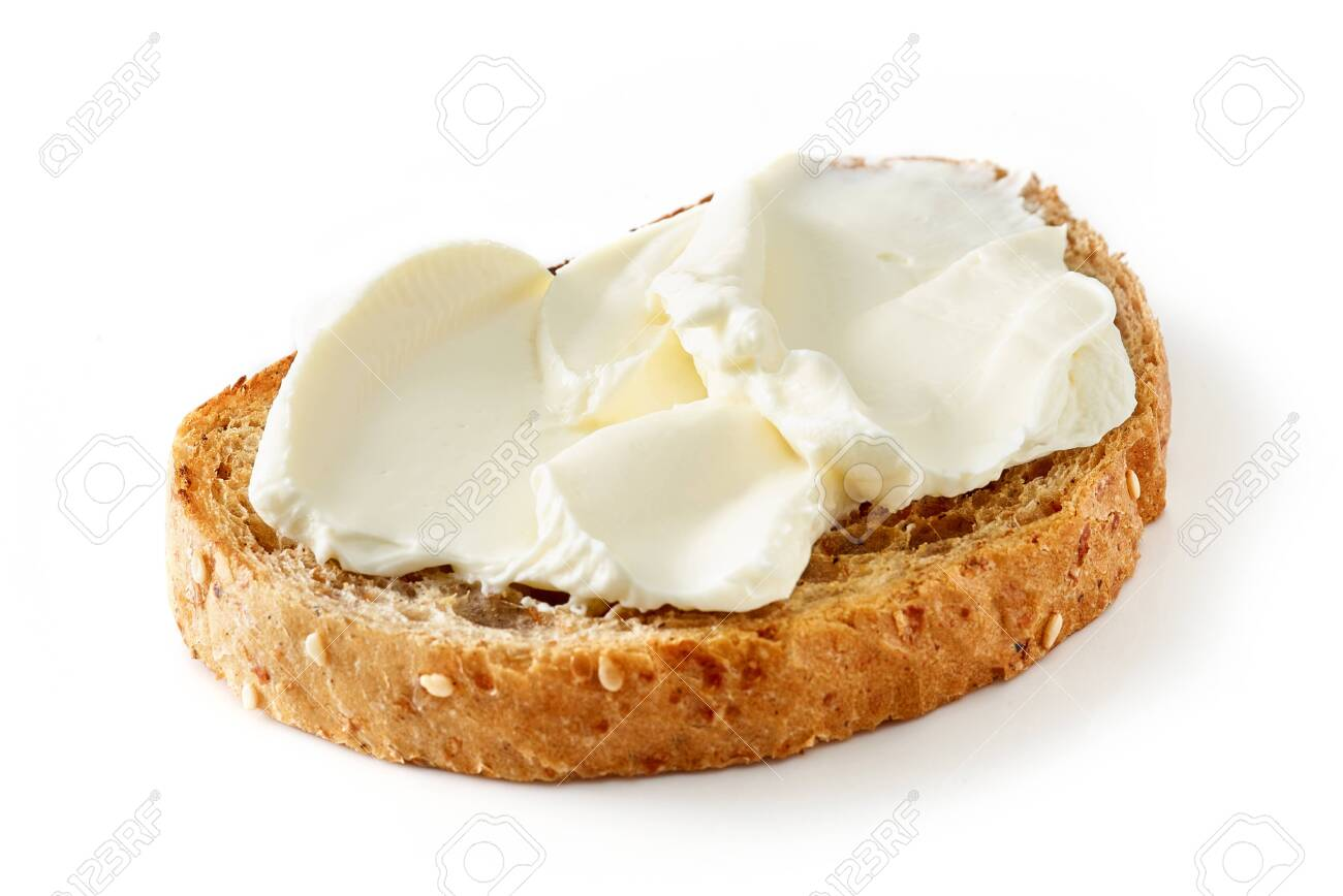toasted bread with cream cheese isolated on white background - 126877051