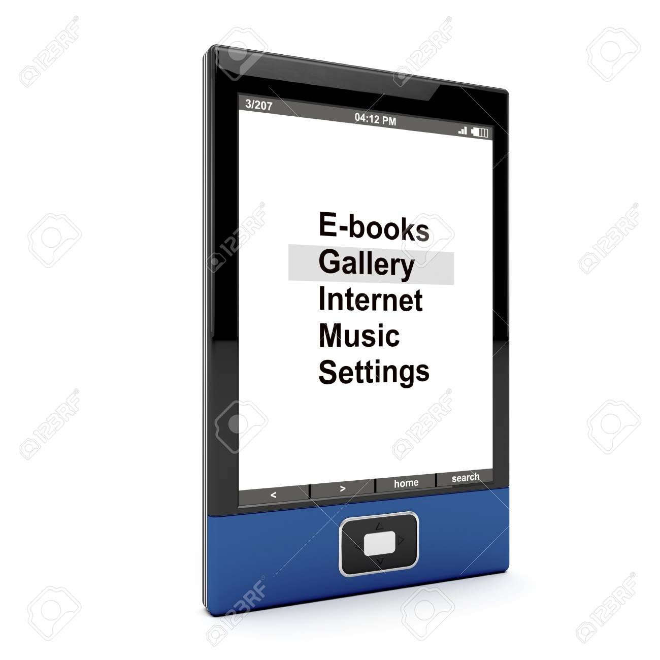 E-book reader on white background. 3d generated image. Stock Photo - 10191016