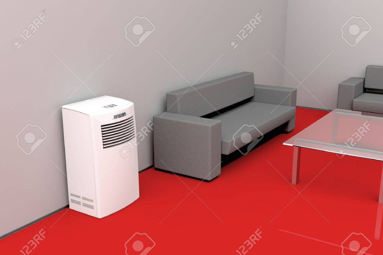 Modern Living Room Cooled With Mobile Air Conditioner Stock Photo   10768571 Part 56
