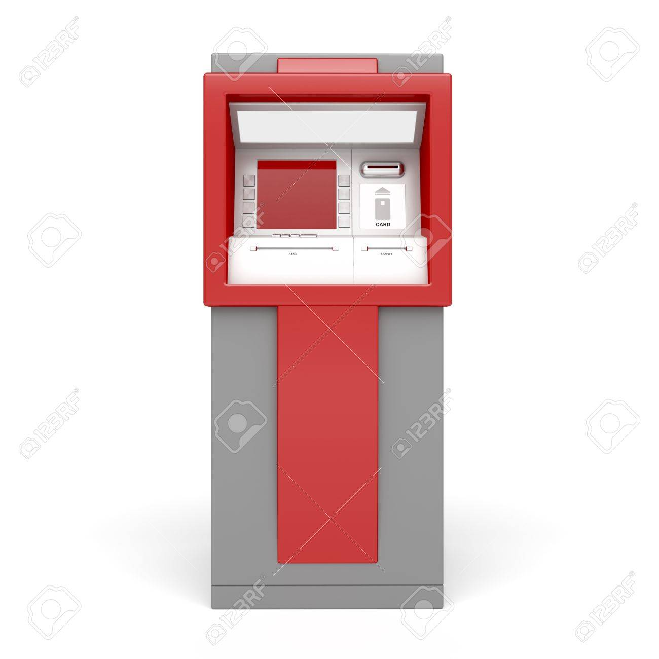 3d illustration of ATM on white background. Front view. Stock Photo - 11304800