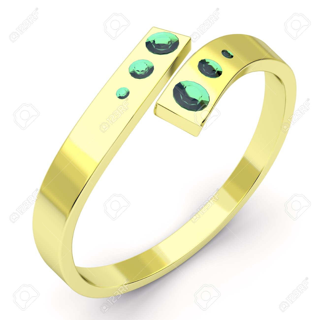 Golden ring with six emeralds Stock Photo - 11541622