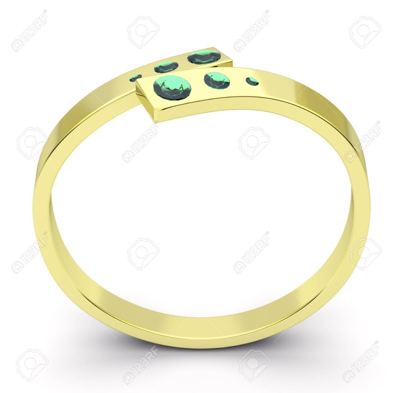 Golden ring with green diamonds Stock Photo - 11541621