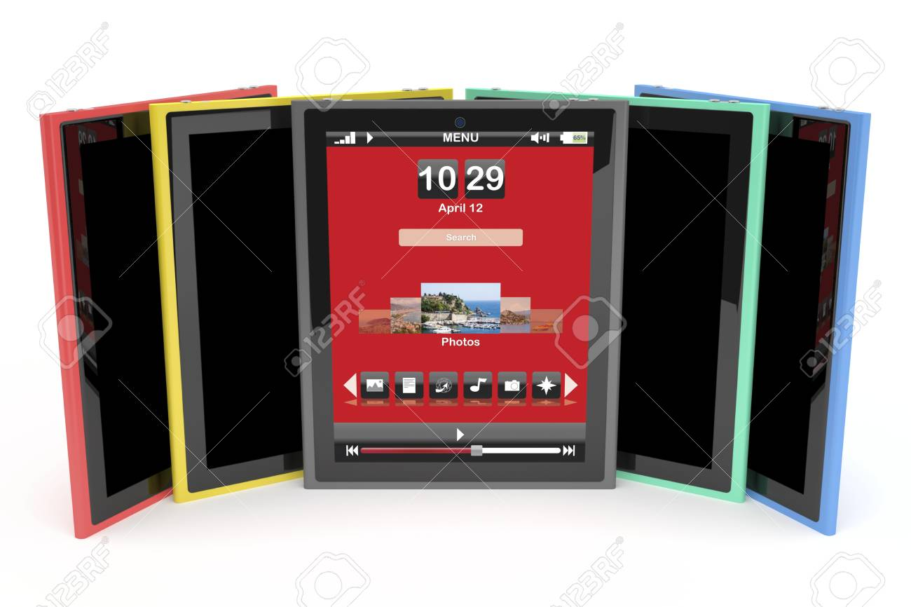 Multicolored tablet computers on white background Stock Photo - 12459834