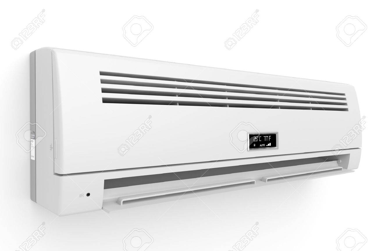 Split-system air conditioner on white wall Stock Photo - 14661690