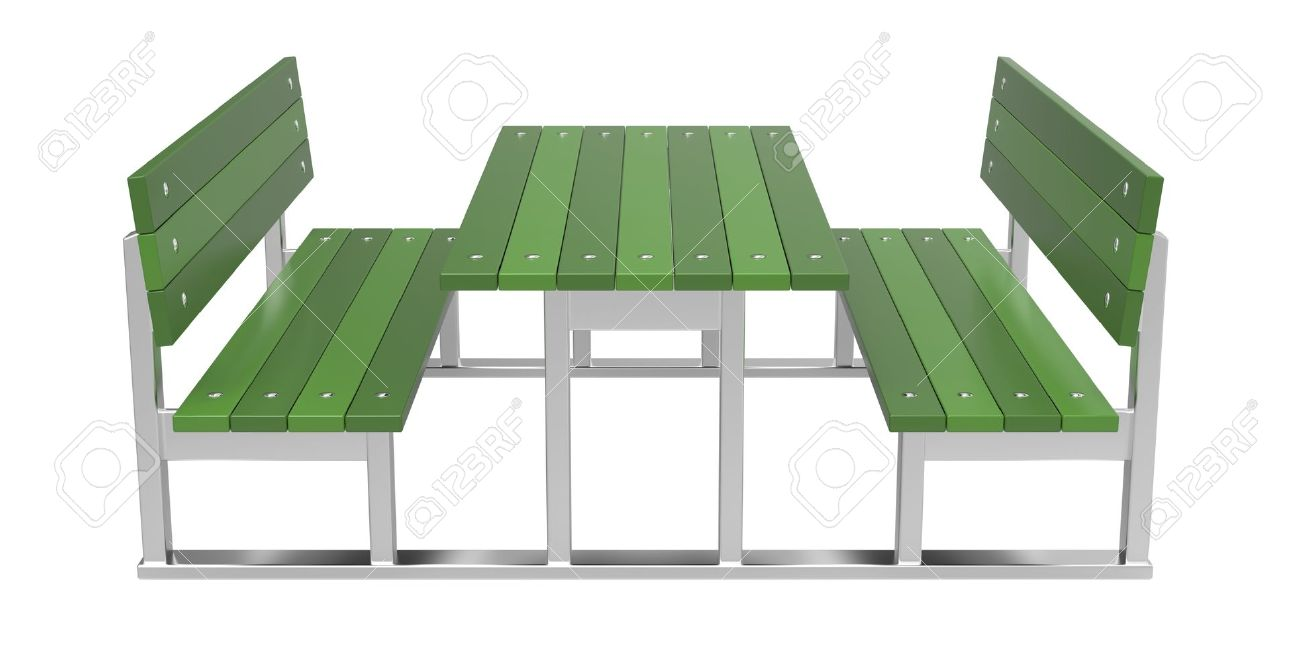 Modern Picnic Table On White Background Stock Photo   17966898