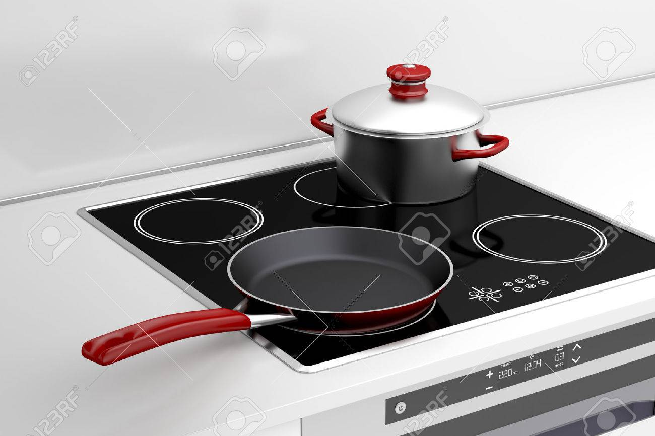 Cooking On Induction Cooktop Part - 19: Frying Pan And Cooking Pot At The Induction Stove Stock Photo - 29391266