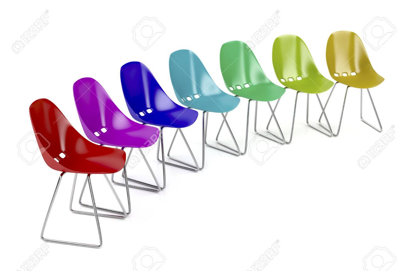 Awesome Colorful Plastic Chairs On White Background Stock Photo   37687037