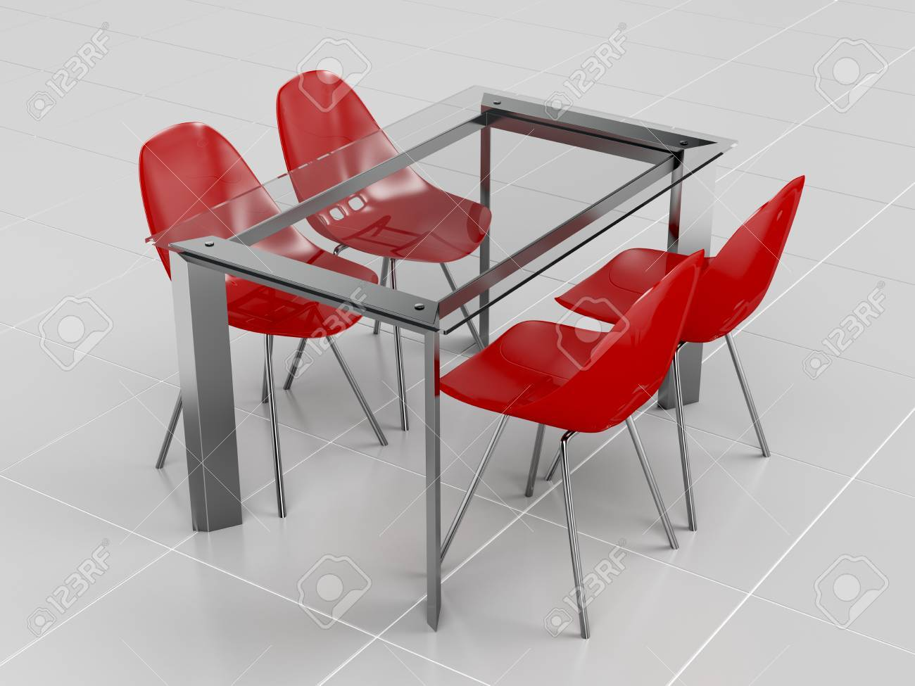 Glass Dining Table And Red Transparent Plastic Chairs Stock Photo Picture And Royalty Free Image Image 38377414