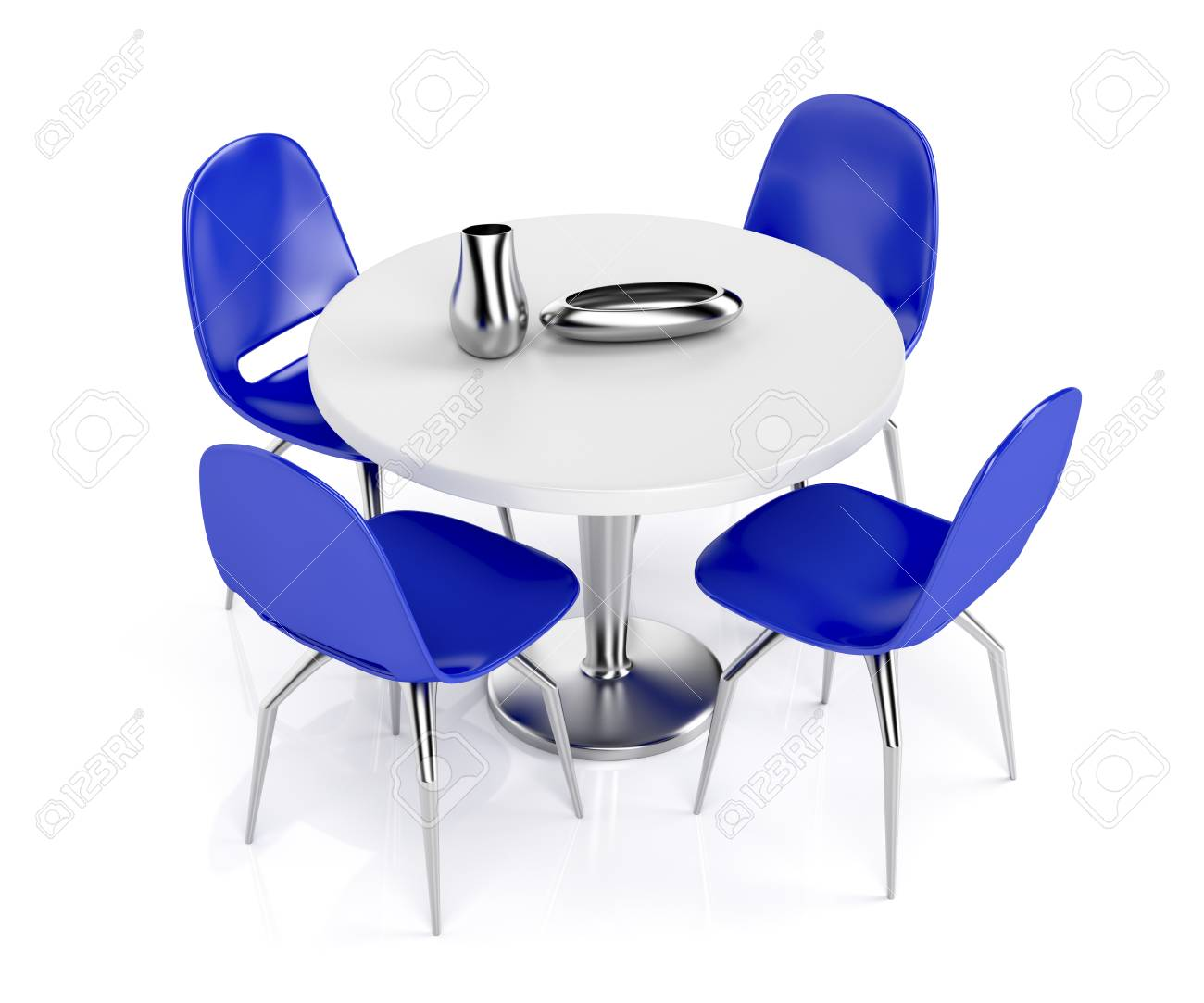 Round Dining Table And Blue Plastic Chairs On White Background Stock Photo Picture And Royalty Free Image Image 38377417