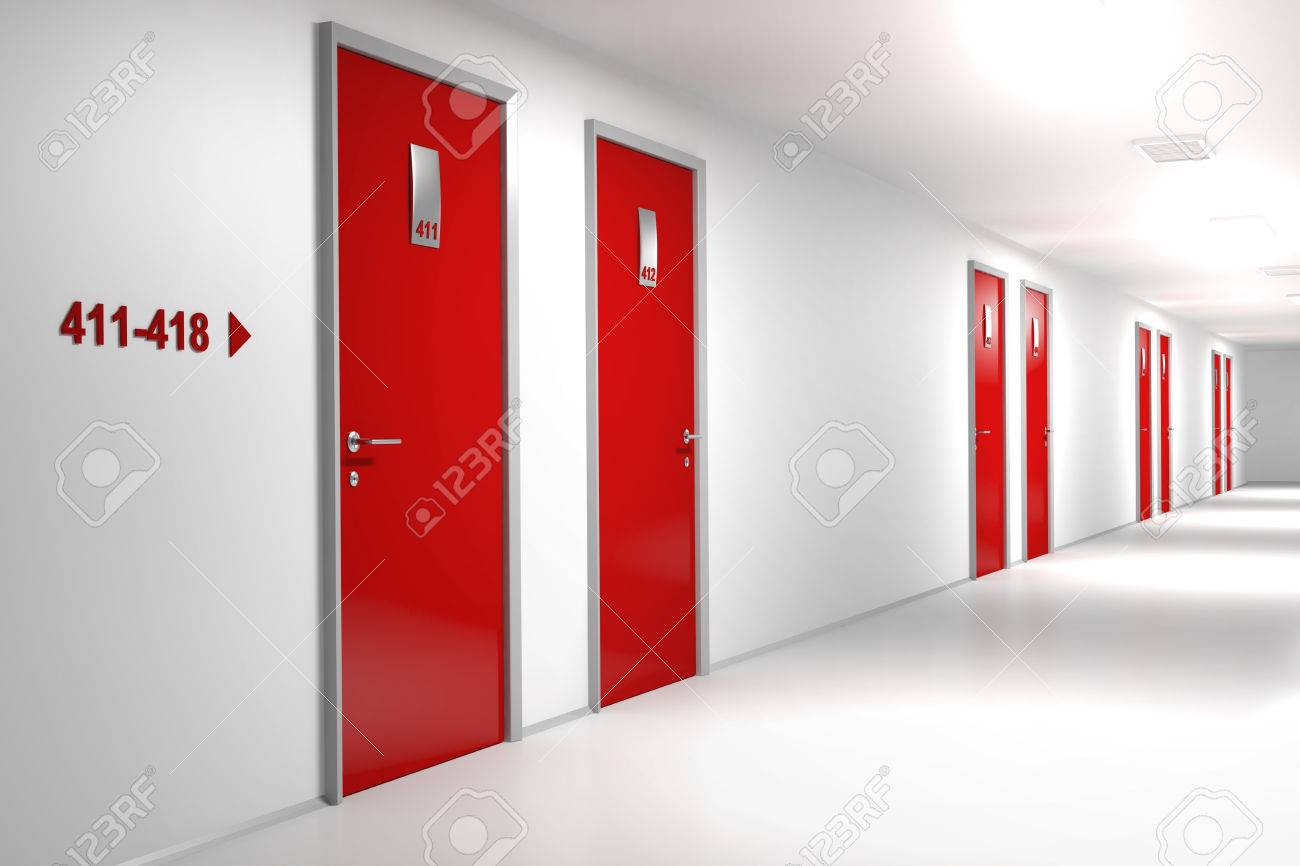 Hotel corridor with red doors Stock Photo - 49001163 & Hotel Corridor With Red Doors Stock Photo Picture And Royalty Free ...