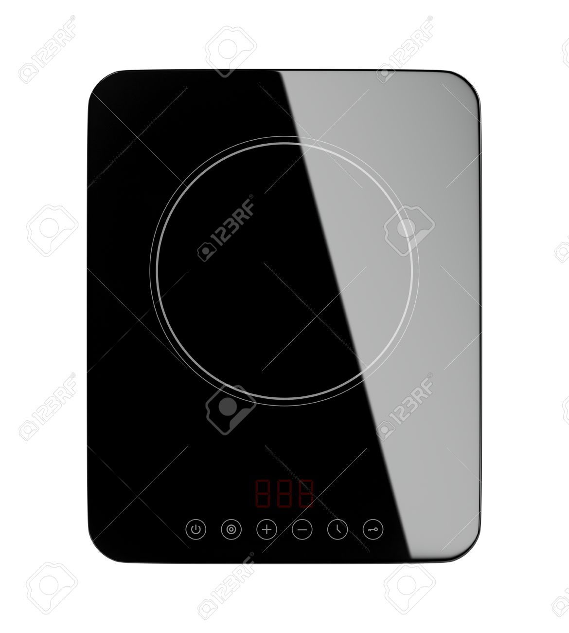 Top View Of Portable Induction Cooktop, Isolated On White Background Stock  Photo   51756297