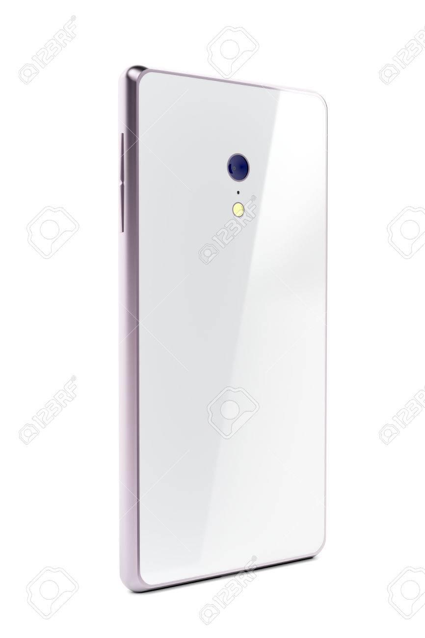 Vista Posterior Del Teléfono Inteligente Blanco Con Marco De Color ...