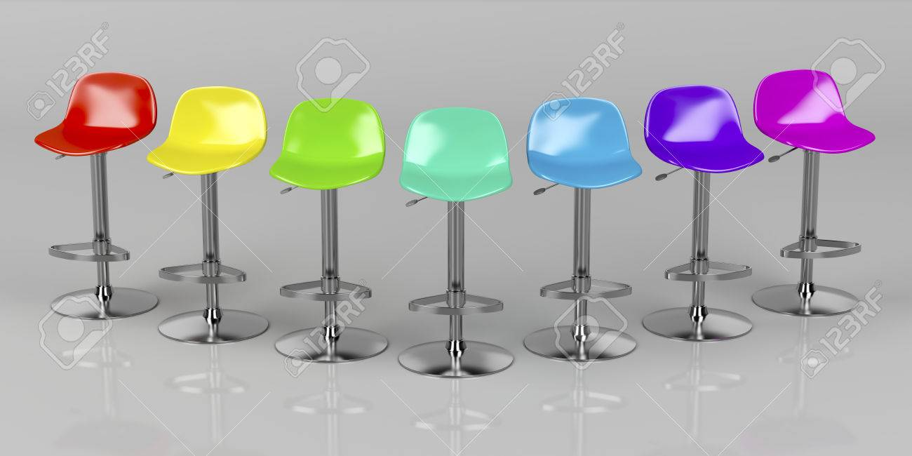Stock photo unique colorful bar stools on shiny gray background front view