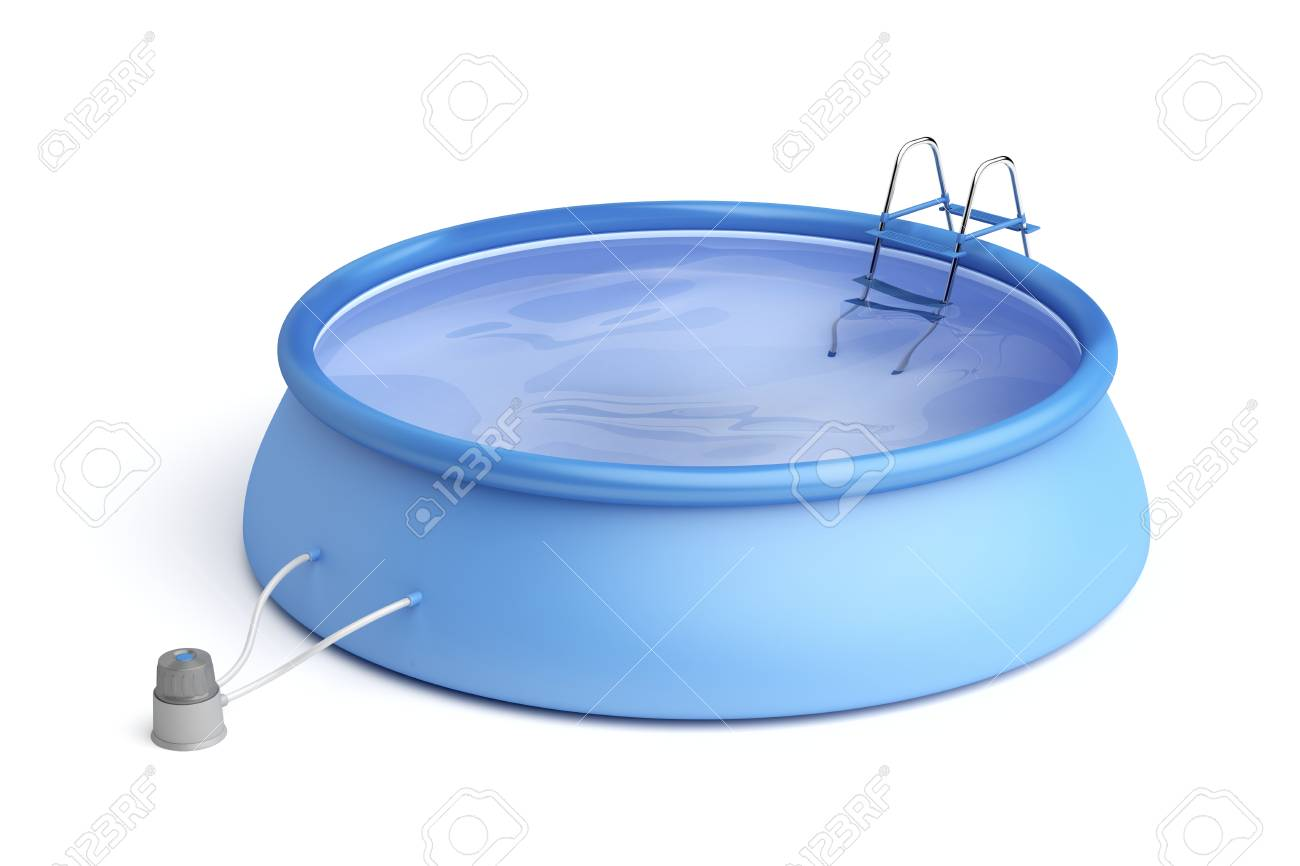 Portable Swimming Pool With Ladder And Filter Pump On White Background  Stock Photo   64500257