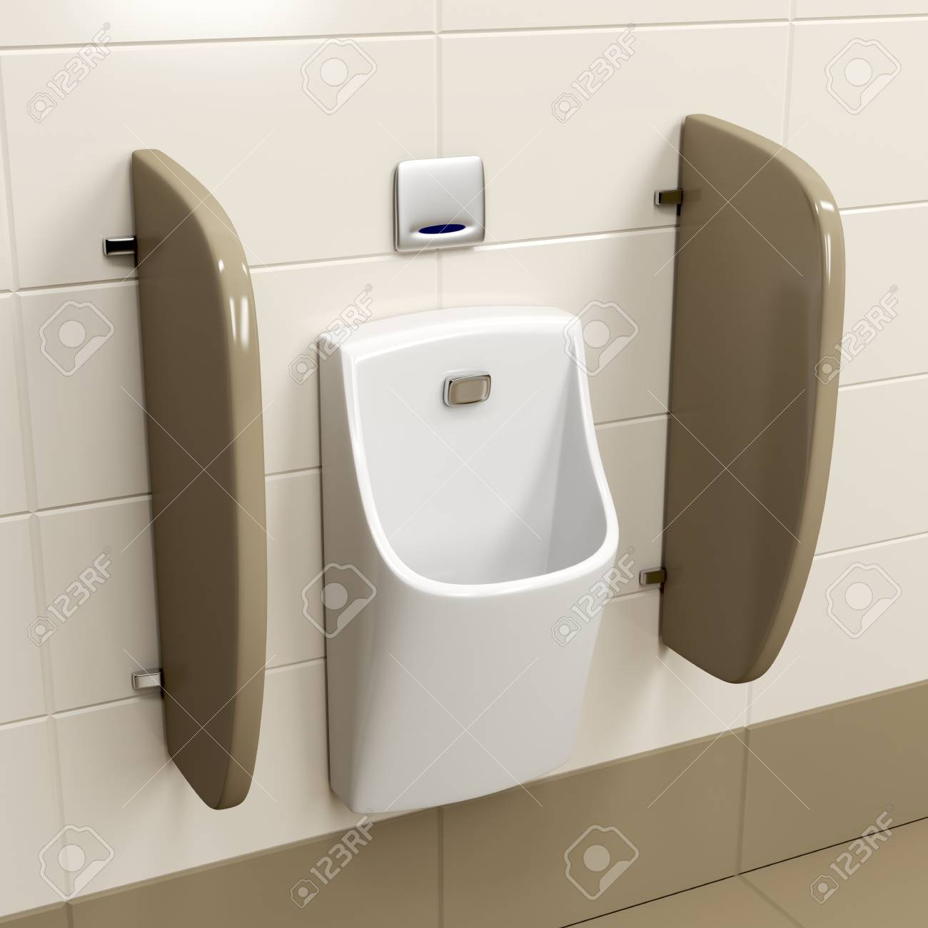 Moderne Sensor Betrieben Urinal Auf Braunen Fliesen In Der öffentlichen  Toilette Standard Bild   66265558