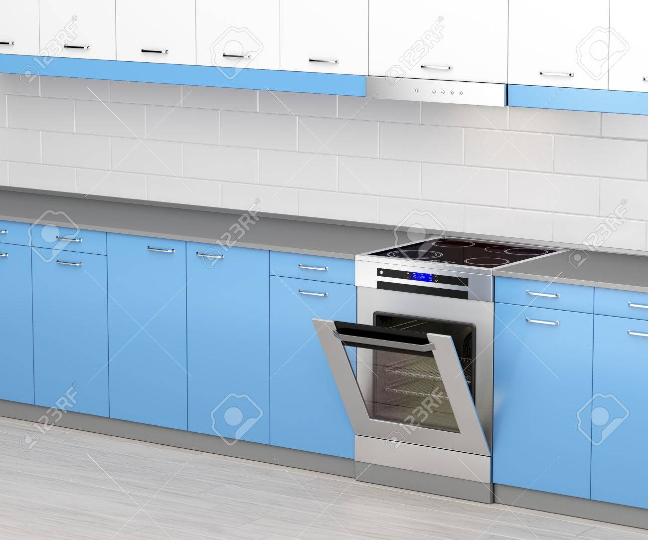 Electric Cooker With Induction Cooktop And Range Hood In The.. Stock ...